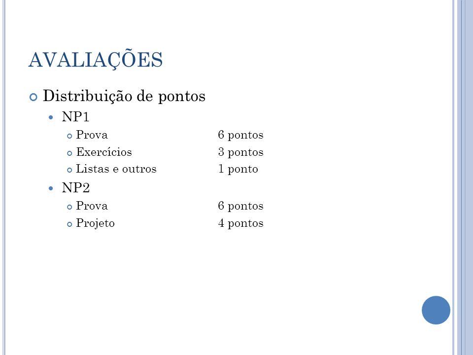 AVALIAÇÕES Distribuição de pontos NP1 Prova6 pontos Exercícios3 pontos Listas e outros1 ponto NP2 Prova6 pontos Projeto4 pontos