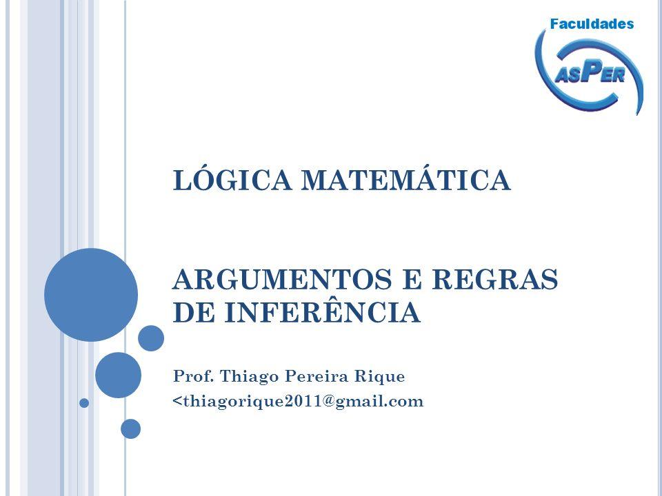 LÓGICA MATEMÁTICA ARGUMENTOS E REGRAS DE INFERÊNCIA Prof. Thiago Pereira Rique <thiagorique2011@gmail.com