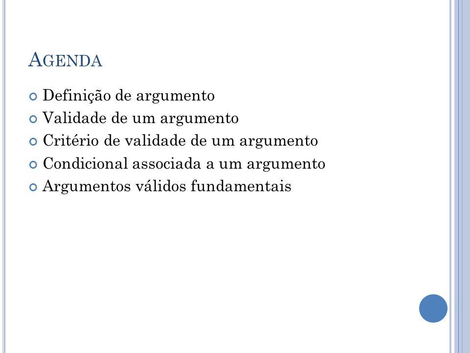 A GENDA Definição de argumento Validade de um argumento Critério de validade de um argumento Condicional associada a um argumento Argumentos válidos f