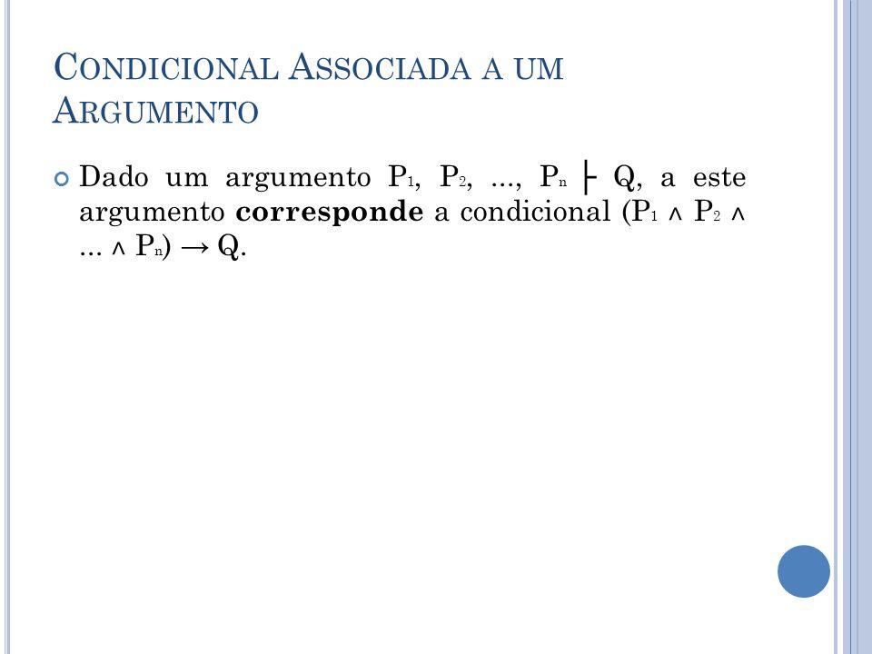 C ONDICIONAL A SSOCIADA A UM A RGUMENTO Dado um argumento P 1, P 2,..., P n Q, a este argumento corresponde a condicional (P 1 ˄ P 2 ˄... ˄ P n ) Q.