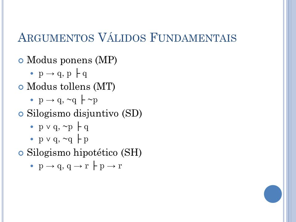 A RGUMENTOS V ÁLIDOS F UNDAMENTAIS Modus ponens (MP) p q, p q Modus tollens (MT) p q, ~q ~p Silogismo disjuntivo (SD) p ˅ q, ~p q p ˅ q, ~q p Silogismo hipotético (SH) p q, q r p r