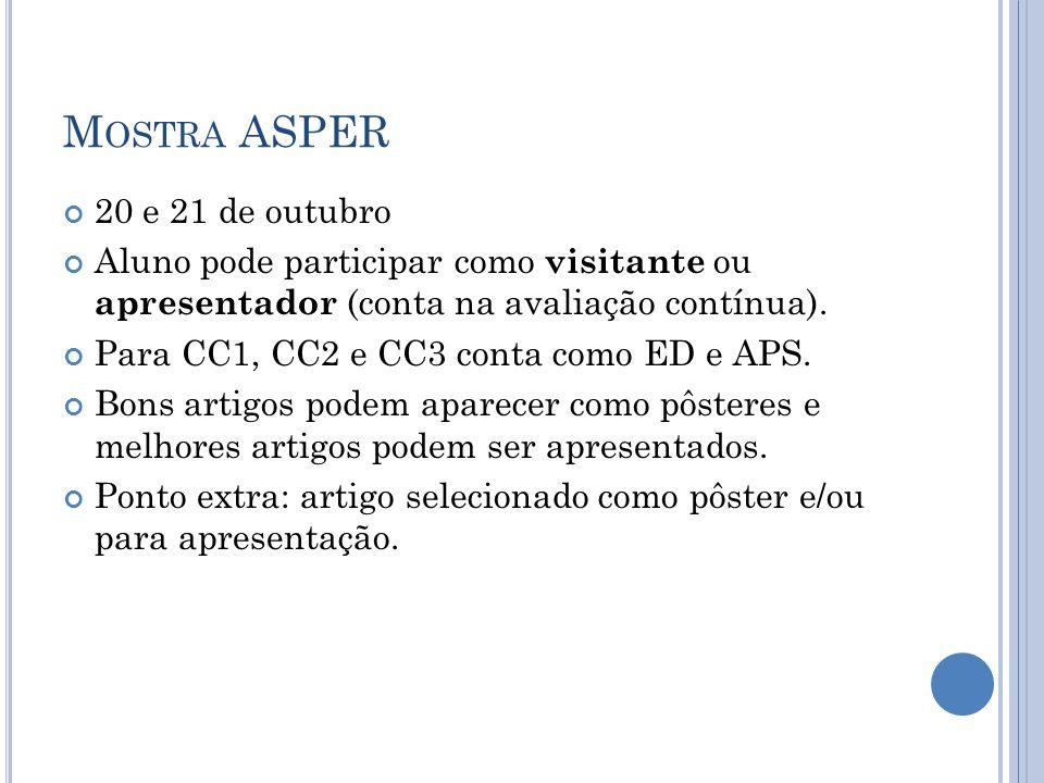 M OSTRA ASPER 20 e 21 de outubro Aluno pode participar como visitante ou apresentador (conta na avaliação contínua). Para CC1, CC2 e CC3 conta como ED
