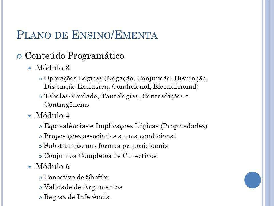 P LANO DE E NSINO /E MENTA Conteúdo Programático Módulo 3 Operações Lógicas (Negação, Conjunção, Disjunção, Disjunção Exclusiva, Condicional, Bicondic
