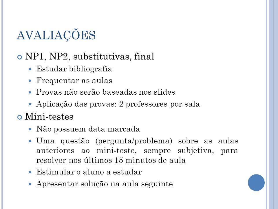 AVALIAÇÕES NP1, NP2, substitutivas, final Estudar bibliografia Frequentar as aulas Provas não serão baseadas nos slides Aplicação das provas: 2 profes