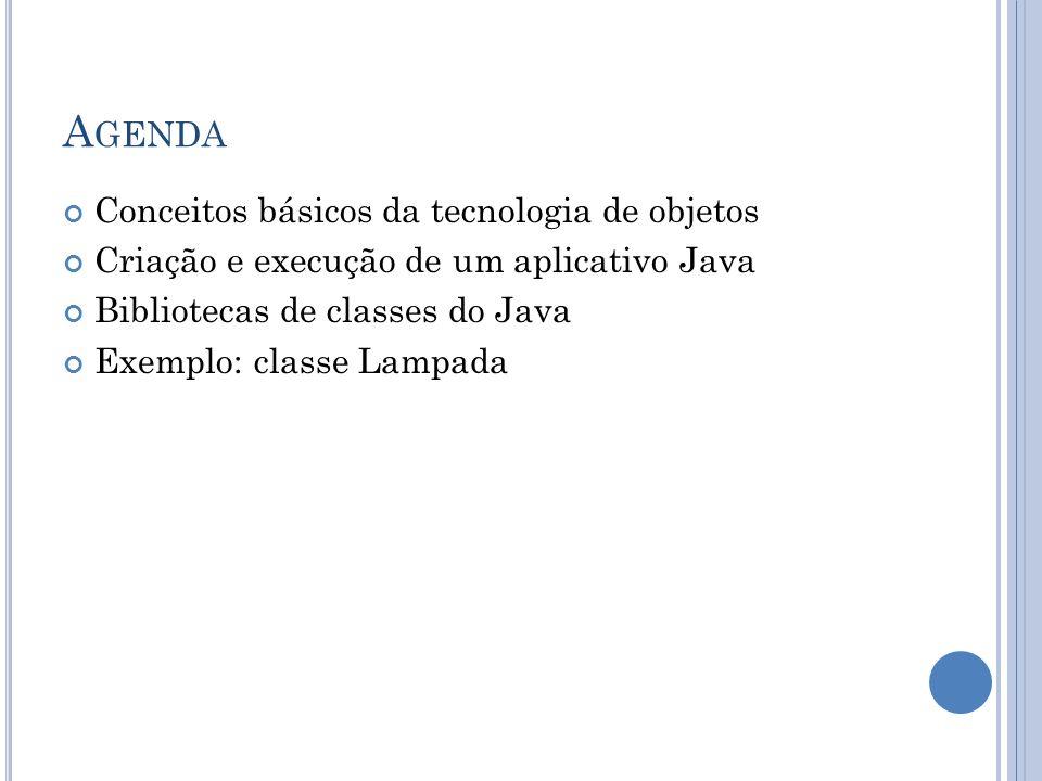 A GENDA Conceitos básicos da tecnologia de objetos Criação e execução de um aplicativo Java Bibliotecas de classes do Java Exemplo: classe Lampada