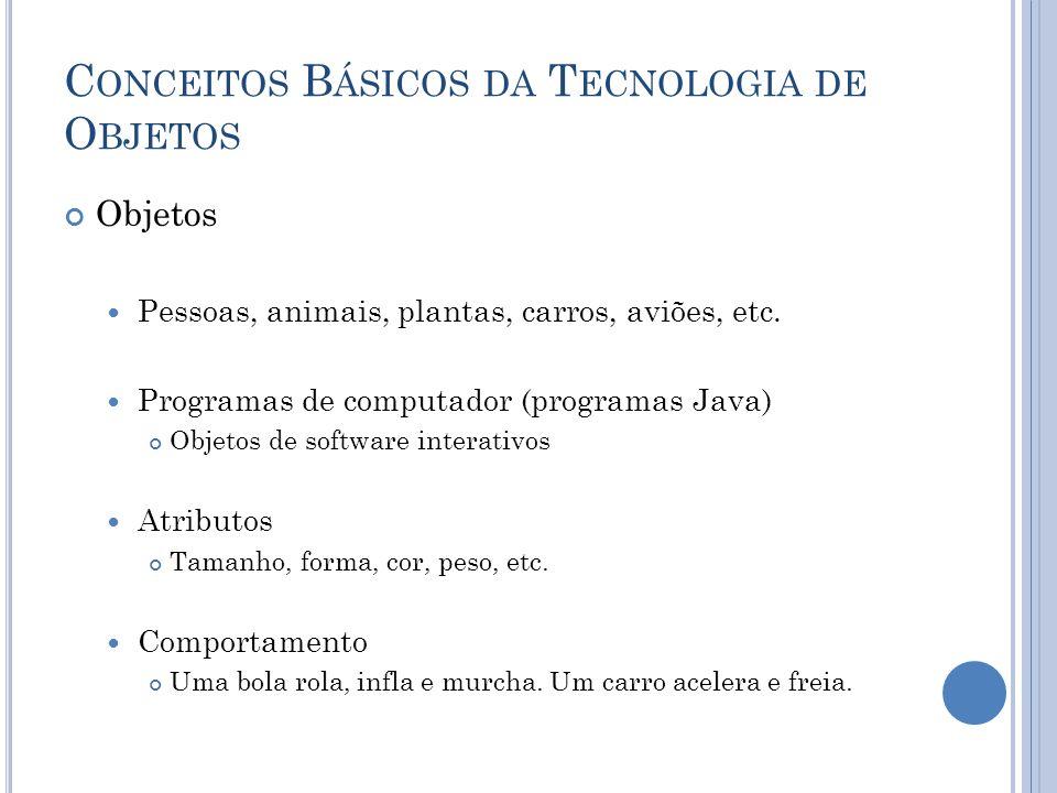 C ONCEITOS B ÁSICOS DA T ECNOLOGIA DE O BJETOS Objetos Pessoas, animais, plantas, carros, aviões, etc.