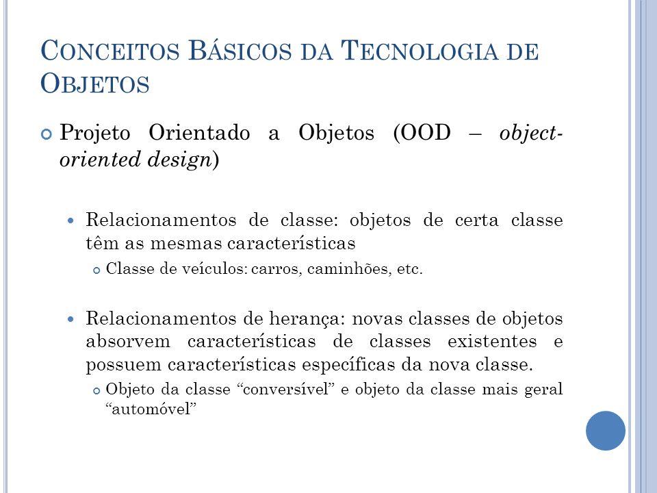 C ONCEITOS B ÁSICOS DA T ECNOLOGIA DE O BJETOS Projeto Orientado a Objetos (OOD – object- oriented design ) Relacionamentos de classe: objetos de certa classe têm as mesmas características Classe de veículos: carros, caminhões, etc.