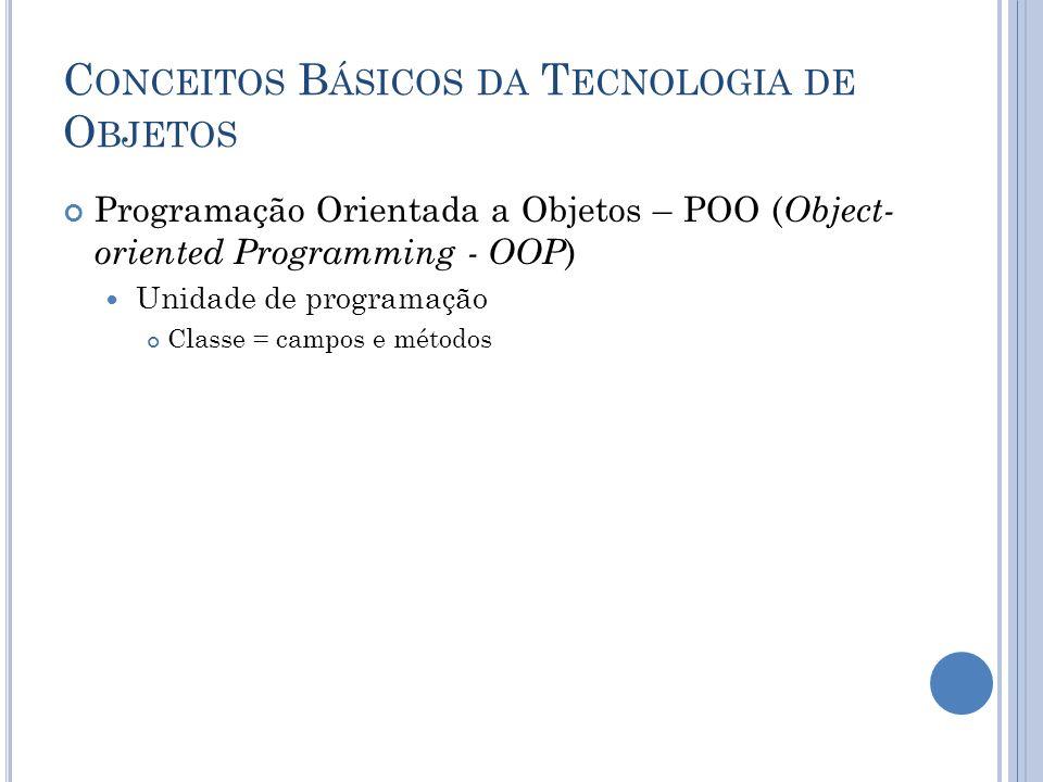 C ONCEITOS B ÁSICOS DA T ECNOLOGIA DE O BJETOS Programação Orientada a Objetos – POO ( Object- oriented Programming - OOP ) Unidade de programação Classe = campos e métodos