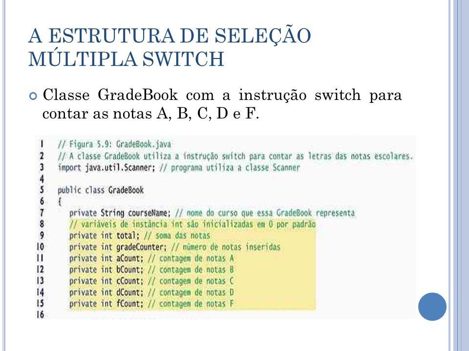 A ESTRUTURA DE SELEÇÃO MÚLTIPLA SWITCH Classe GradeBook com a instrução switch para contar as notas A, B, C, D e F.