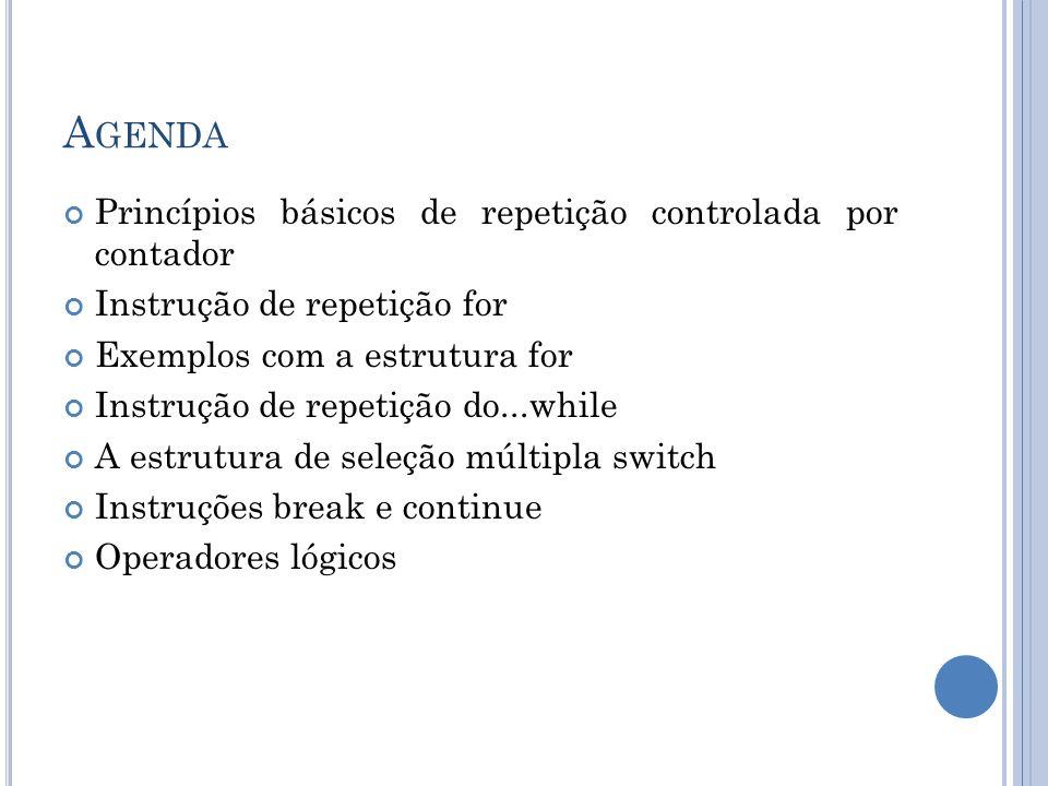 PRINCÍPIOS BÁSICOS DE REPETIÇÃO CONTROLADA POR CONTADOR Repetição controlada por contador requer: Uma variável de controle (ou contador de loop) O valor inicial da variável de controle O incremento ou decremento da variável de controle a cada iteração A condição de continuação do loop