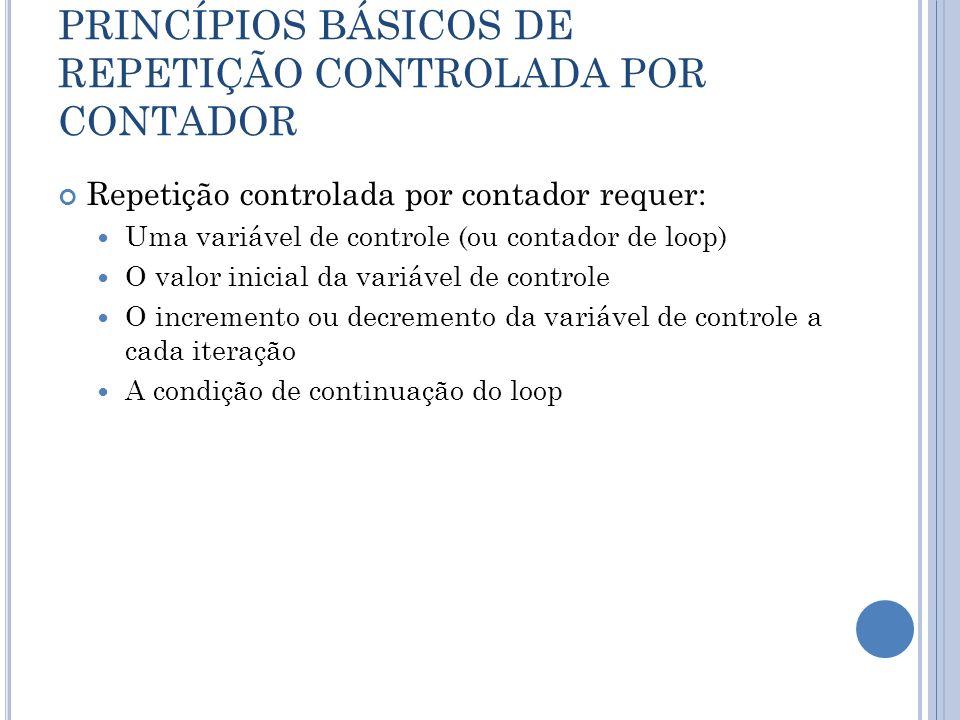 PRINCÍPIOS BÁSICOS DE REPETIÇÃO CONTROLADA POR CONTADOR Repetição controlada por contador requer: Uma variável de controle (ou contador de loop) O val