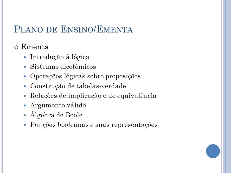 P LANO DE E NSINO /E MENTA Ementa Introdução à lógica Sistemas dicotômicos Operações lógicas sobre proposições Construção de tabelas-verdade Relações