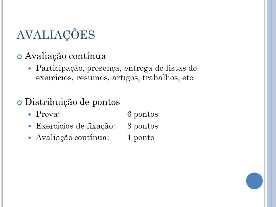AVALIAÇÕES Avaliação contínua Participação, presença, entrega de listas de exercícios, resumos, artigos, trabalhos, etc. Distribuição de pontos Prova: