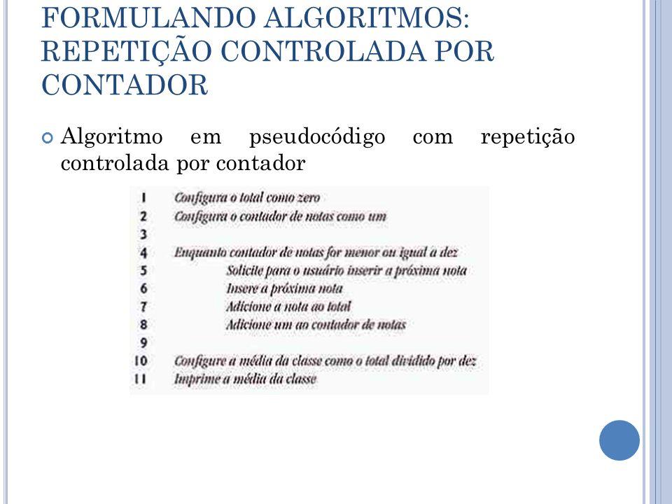 FORMULANDO ALGORITMOS: REPETIÇÃO CONTROLADA POR CONTADOR Algoritmo em pseudocódigo com repetição controlada por contador