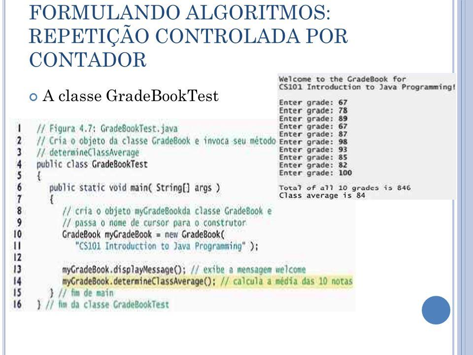 FORMULANDO ALGORITMOS: REPETIÇÃO CONTROLADA POR CONTADOR A classe GradeBookTest