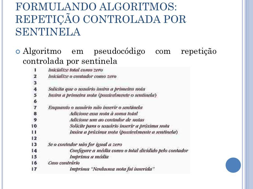 FORMULANDO ALGORITMOS: REPETIÇÃO CONTROLADA POR SENTINELA Algoritmo em pseudocódigo com repetição controlada por sentinela
