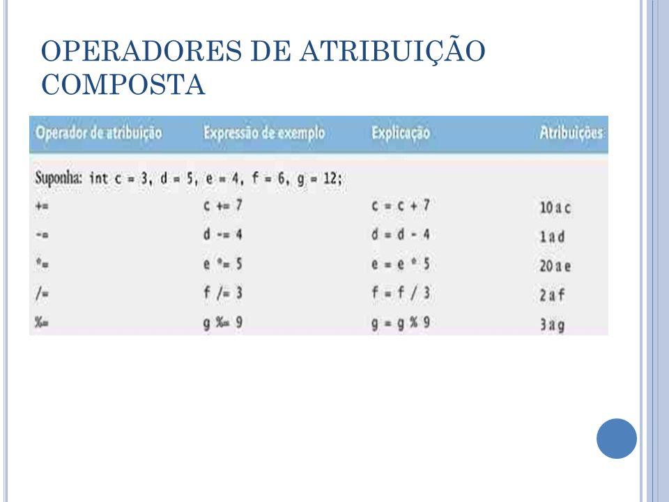 OPERADORES DE ATRIBUIÇÃO COMPOSTA