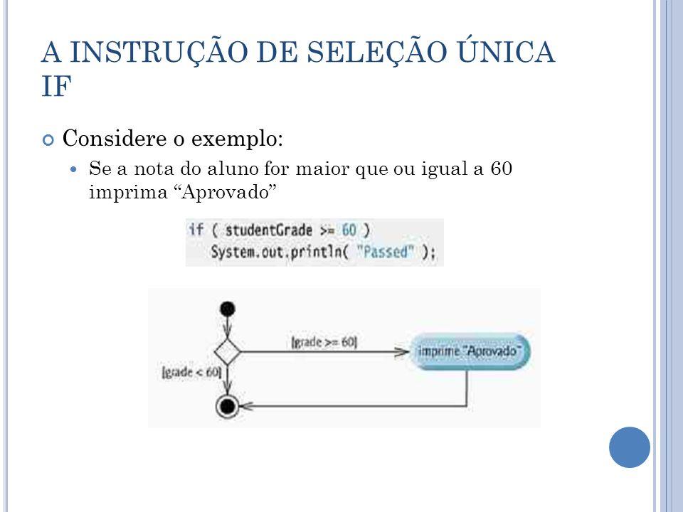 A INSTRUÇÃO DE SELEÇÃO ÚNICA IF Considere o exemplo: Se a nota do aluno for maior que ou igual a 60 imprima Aprovado