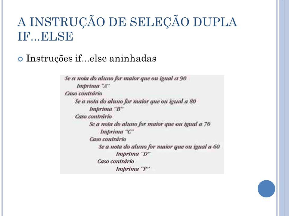 A INSTRUÇÃO DE SELEÇÃO DUPLA IF...ELSE Instruções if...else aninhadas
