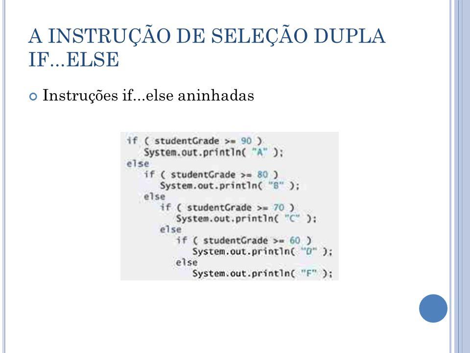 FORMULANDO ALGORITMOS: INSTRUÇÕES DE CONTROLE ANINHADAS Implementação Continua no próximo slide...