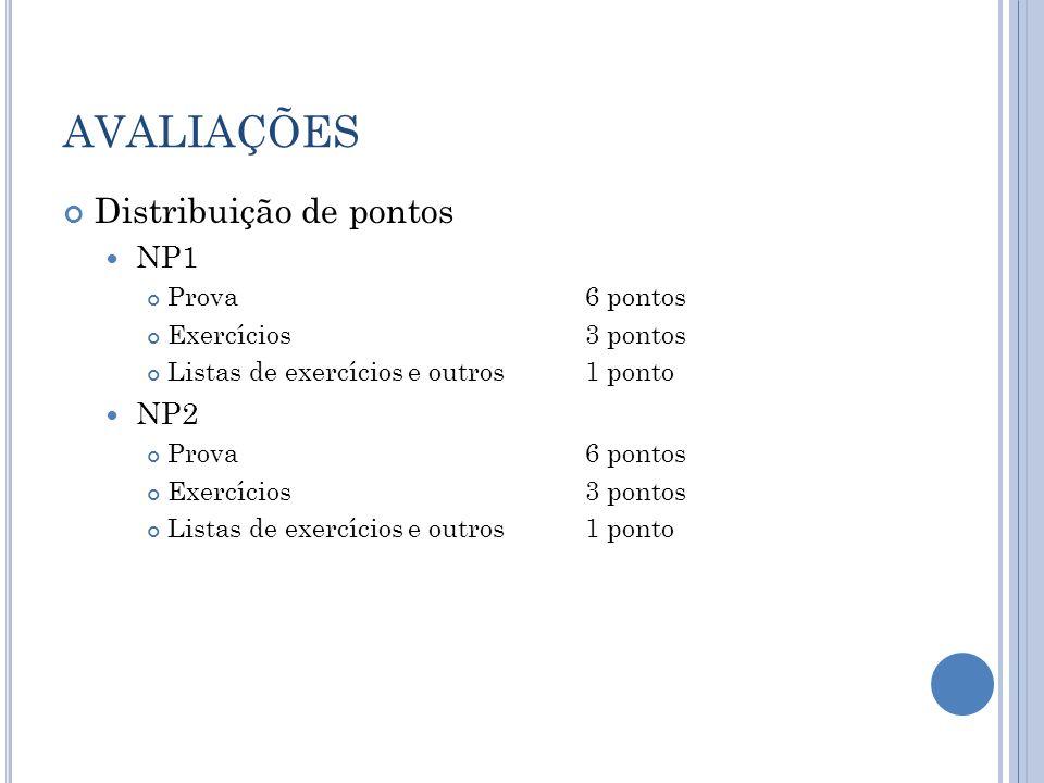 AVALIAÇÕES Distribuição de pontos NP1 Prova6 pontos Exercícios3 pontos Listas de exercícios e outros1 ponto NP2 Prova6 pontos Exercícios3 pontos Listas de exercícios e outros1 ponto