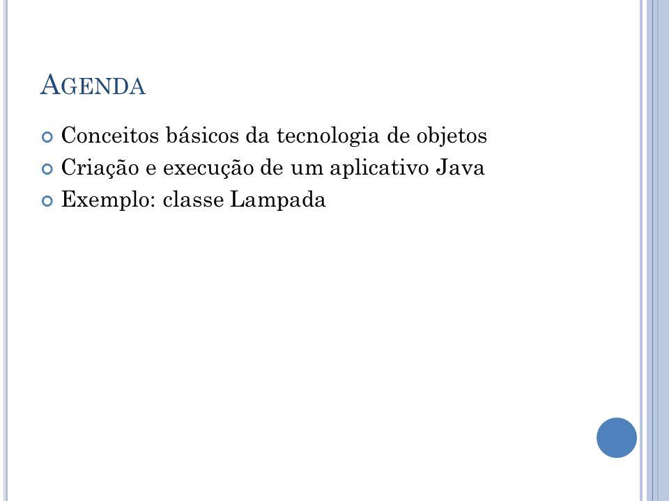 A GENDA Conceitos básicos da tecnologia de objetos Criação e execução de um aplicativo Java Exemplo: classe Lampada