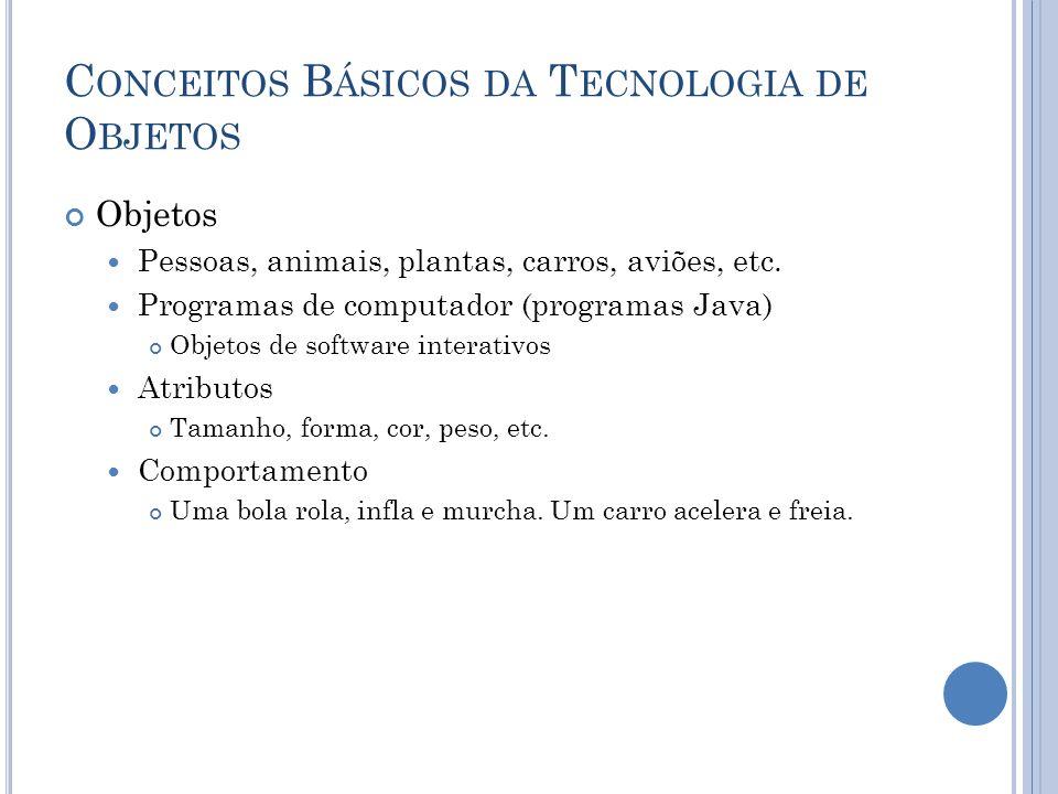C ONCEITOS B ÁSICOS DA T ECNOLOGIA DE O BJETOS Objetos Pessoas, animais, plantas, carros, aviões, etc. Programas de computador (programas Java) Objeto
