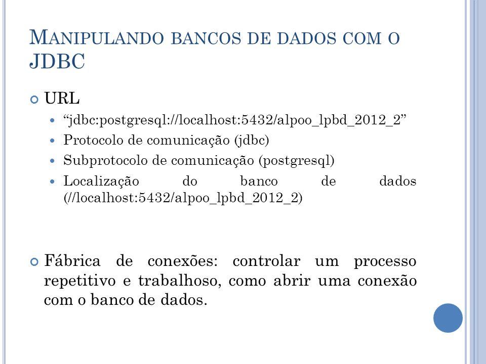 M ANIPULANDO BANCOS DE DADOS COM O JDBC URL jdbc:postgresql://localhost:5432/alpoo_lpbd_2012_2 Protocolo de comunicação (jdbc) Subprotocolo de comunic