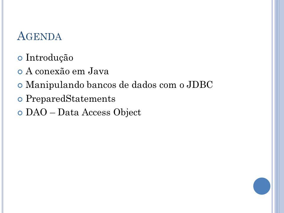 A GENDA Introdução A conexão em Java Manipulando bancos de dados com o JDBC PreparedStatements DAO – Data Access Object