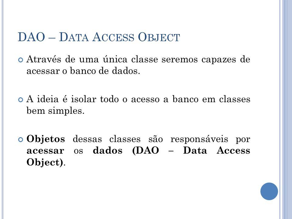 DAO – D ATA A CCESS O BJECT Através de uma única classe seremos capazes de acessar o banco de dados. A ideia é isolar todo o acesso a banco em classes