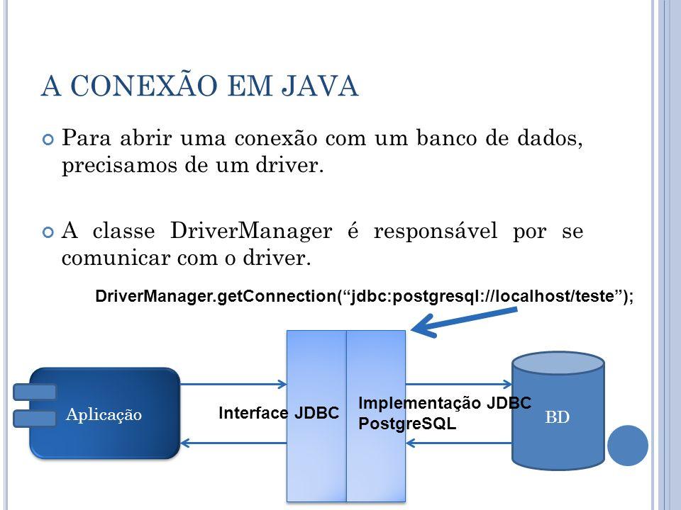 A CONEXÃO EM JAVA Para abrir uma conexão com um banco de dados, precisamos de um driver. A classe DriverManager é responsável por se comunicar com o d