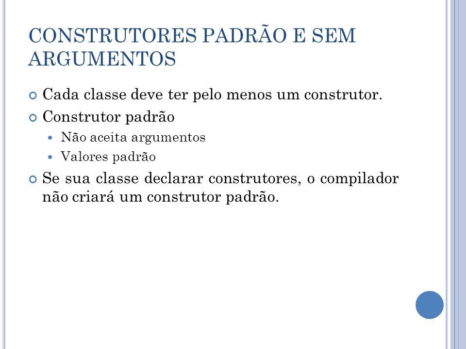 CONSTRUTORES PADRÃO E SEM ARGUMENTOS Cada classe deve ter pelo menos um construtor. Construtor padrão Não aceita argumentos Valores padrão Se sua clas