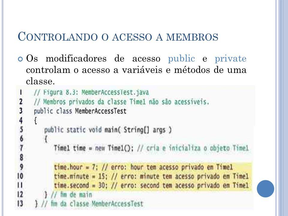 C ONTROLANDO O ACESSO A MEMBROS Os modificadores de acesso public e private controlam o acesso a variáveis e métodos de uma classe.