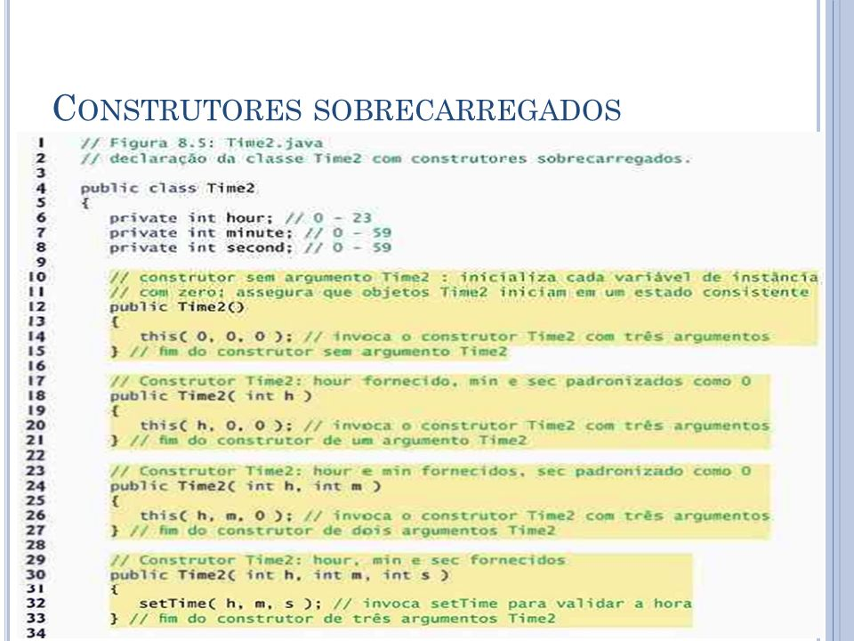 C ONSTRUTORES SOBRECARREGADOS