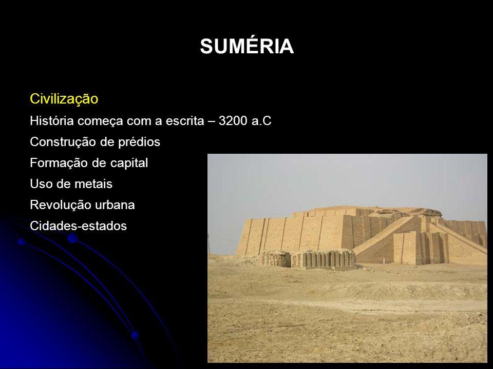 SUMÉRIA Civilização História começa com a escrita – 3200 a.C Construção de prédios Formação de capital Uso de metais Revolução urbana Cidades-estados