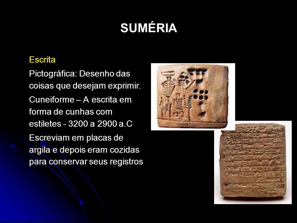 SUMÉRIA Escrita Pictográfica: Desenho das coisas que desejam exprimir. Cuneiforme – A escrita em forma de cunhas com estiletes - 3200 a 2900 a.C Escre