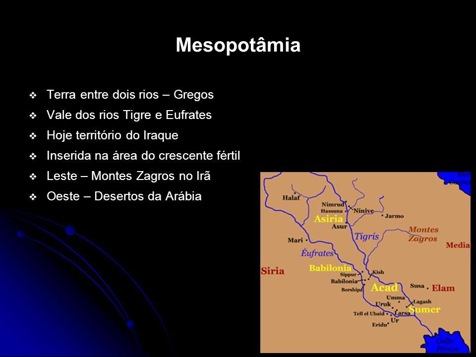 Mesopotâmia Terra entre dois rios – Gregos Vale dos rios Tigre e Eufrates Hoje território do Iraque Inserida na área do crescente fértil Leste – Monte