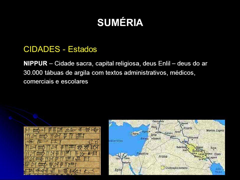 SUMÉRIA CIDADES - Estados NIPPUR – Cidade sacra, capital religiosa, deus Enlil – deus do ar 30.000 tábuas de argila com textos administrativos, médico