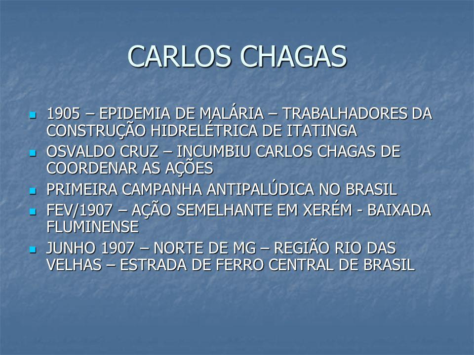 CARLOS CHAGAS 1905 – EPIDEMIA DE MALÁRIA – TRABALHADORES DA CONSTRUÇÃO HIDRELÉTRICA DE ITATINGA 1905 – EPIDEMIA DE MALÁRIA – TRABALHADORES DA CONSTRUÇ