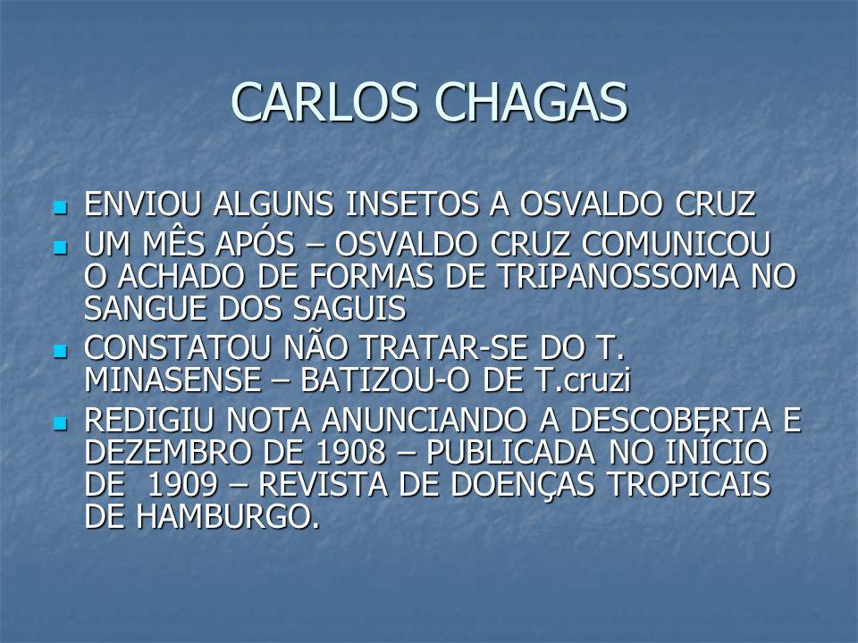 CARLOS CHAGAS ENVIOU ALGUNS INSETOS A OSVALDO CRUZ ENVIOU ALGUNS INSETOS A OSVALDO CRUZ UM MÊS APÓS – OSVALDO CRUZ COMUNICOU O ACHADO DE FORMAS DE TRI