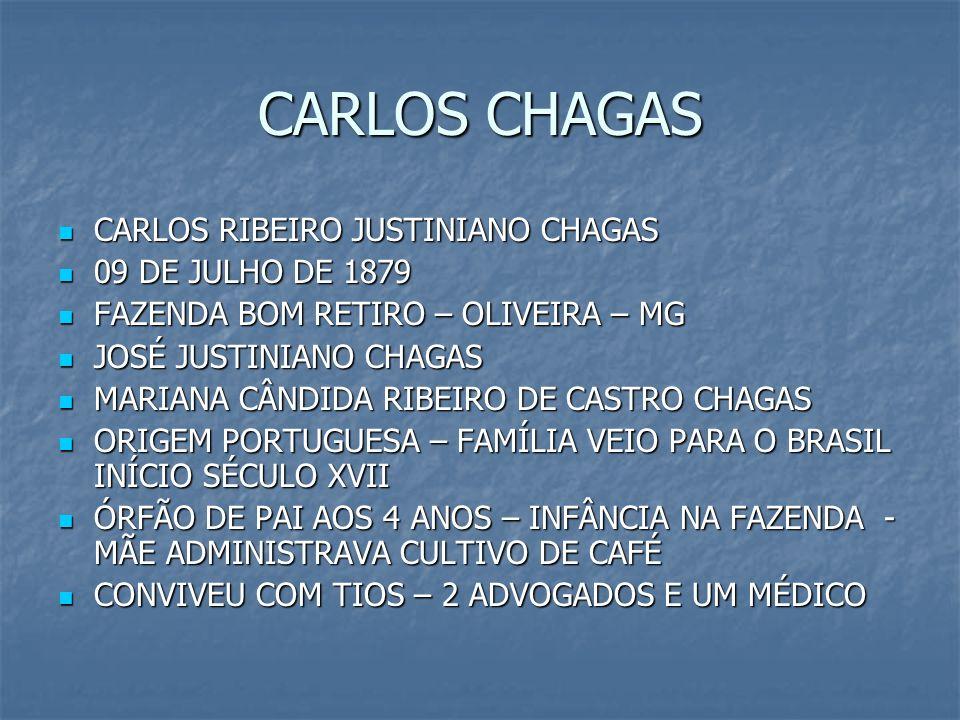 CARLOS CHAGAS CARLOS RIBEIRO JUSTINIANO CHAGAS CARLOS RIBEIRO JUSTINIANO CHAGAS 09 DE JULHO DE 1879 09 DE JULHO DE 1879 FAZENDA BOM RETIRO – OLIVEIRA