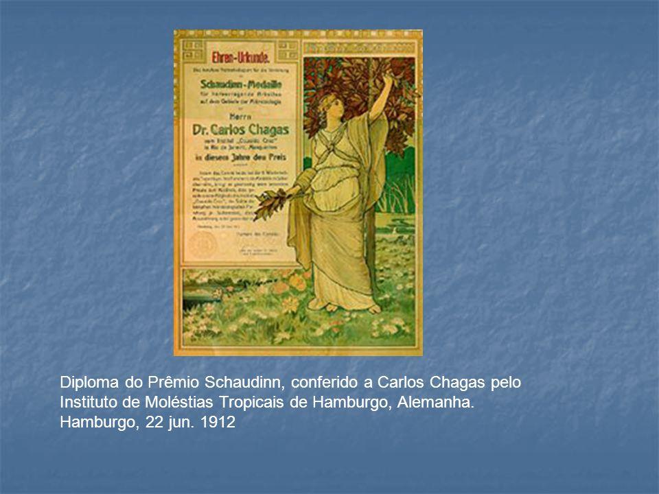 Diploma do Prêmio Schaudinn, conferido a Carlos Chagas pelo Instituto de Moléstias Tropicais de Hamburgo, Alemanha. Hamburgo, 22 jun. 1912
