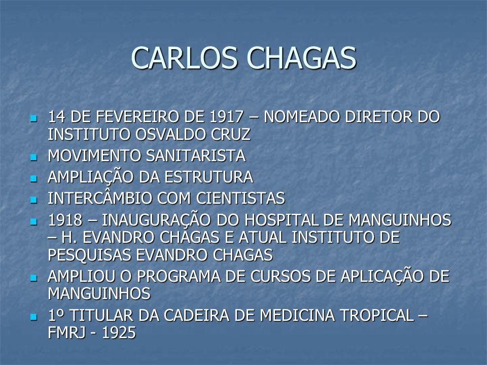 CARLOS CHAGAS 14 DE FEVEREIRO DE 1917 – NOMEADO DIRETOR DO INSTITUTO OSVALDO CRUZ 14 DE FEVEREIRO DE 1917 – NOMEADO DIRETOR DO INSTITUTO OSVALDO CRUZ