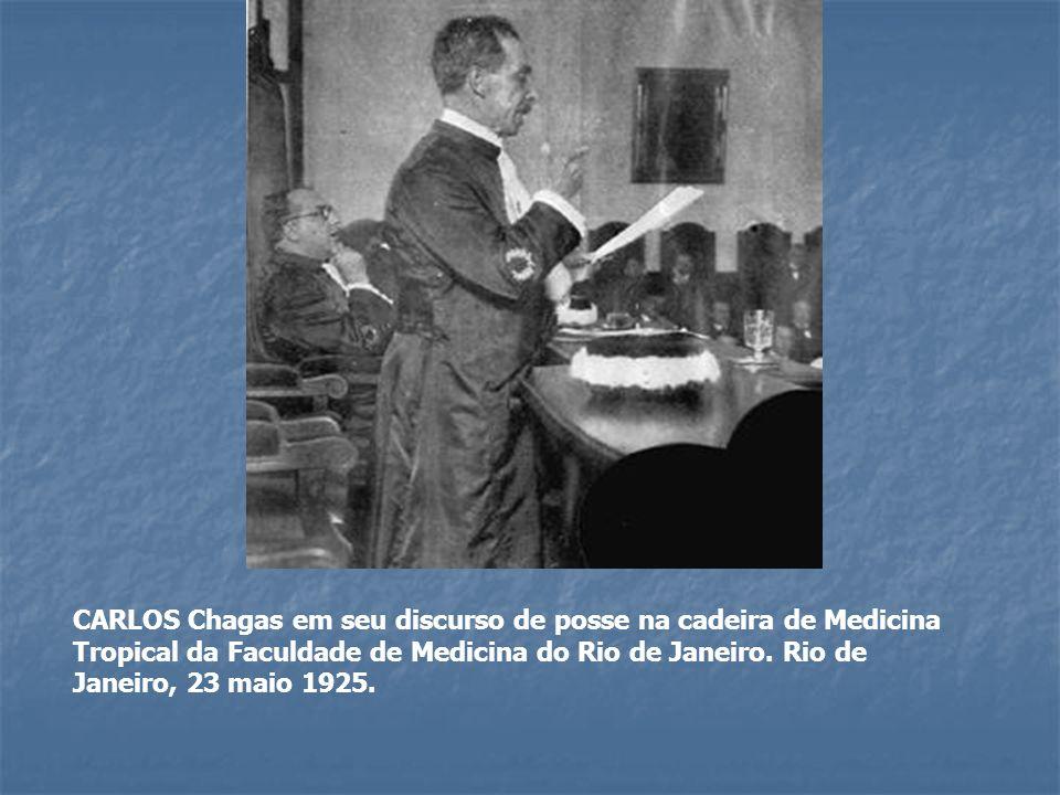 CARLOS Chagas em seu discurso de posse na cadeira de Medicina Tropical da Faculdade de Medicina do Rio de Janeiro. Rio de Janeiro, 23 maio 1925.