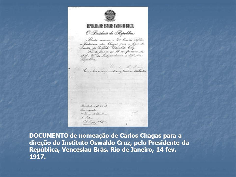 DOCUMENTO de nomeação de Carlos Chagas para a direção do Instituto Oswaldo Cruz, pelo Presidente da República, Venceslau Brás. Rio de Janeiro, 14 fev.