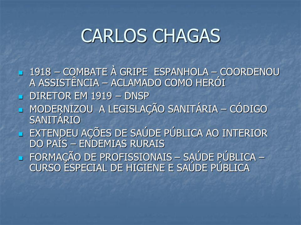 CARLOS CHAGAS 1918 – COMBATE À GRIPE ESPANHOLA – COORDENOU A ASSISTÊNCIA – ACLAMADO COMO HERÓI 1918 – COMBATE À GRIPE ESPANHOLA – COORDENOU A ASSISTÊN