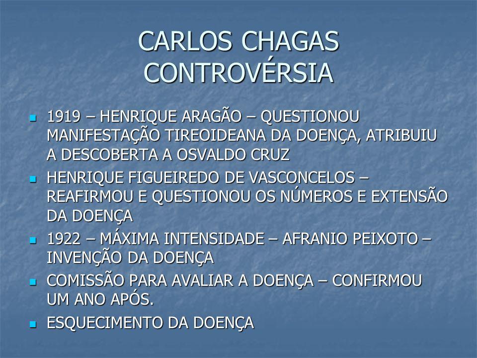 CARLOS CHAGAS CONTROVÉRSIA 1919 – HENRIQUE ARAGÃO – QUESTIONOU MANIFESTAÇÃO TIREOIDEANA DA DOENÇA, ATRIBUIU A DESCOBERTA A OSVALDO CRUZ 1919 – HENRIQU