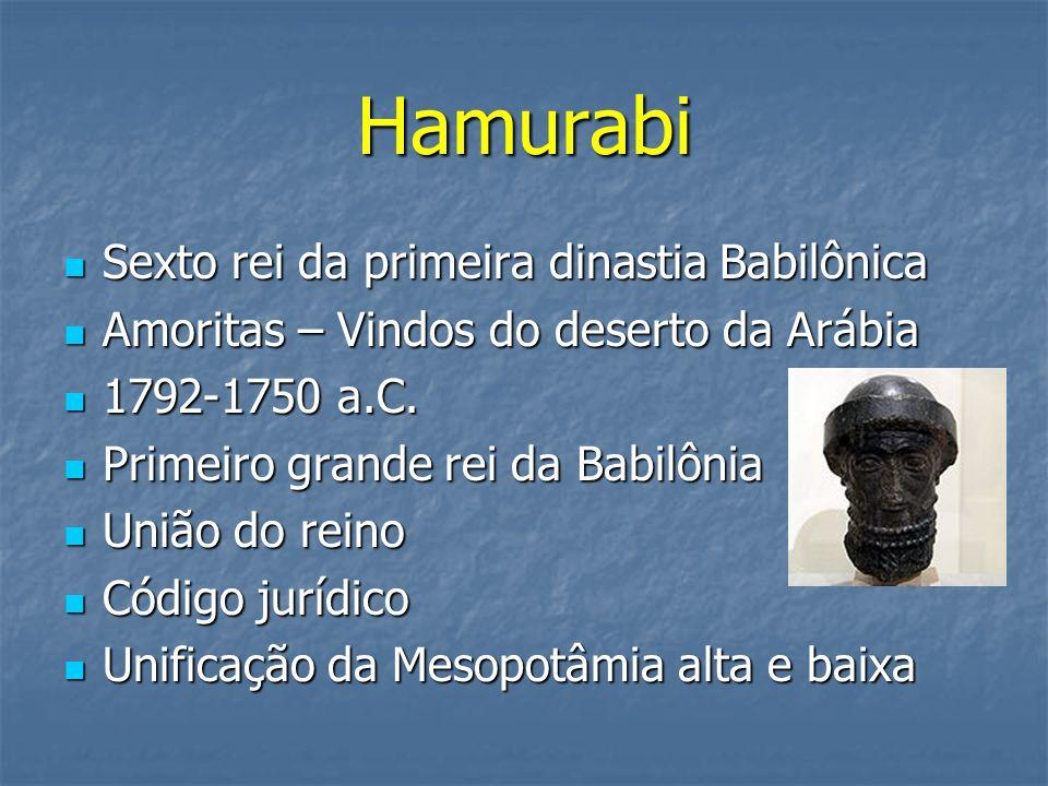 Hamurabi Sexto rei da primeira dinastia Babilônica Sexto rei da primeira dinastia Babilônica Amoritas – Vindos do deserto da Arábia Amoritas – Vindos