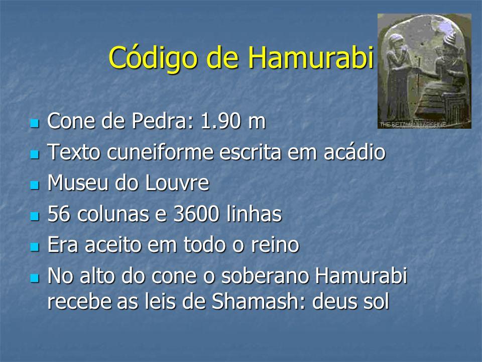 Código de Hamurabi Cone de Pedra: 1.90 m Cone de Pedra: 1.90 m Texto cuneiforme escrita em acádio Texto cuneiforme escrita em acádio Museu do Louvre M