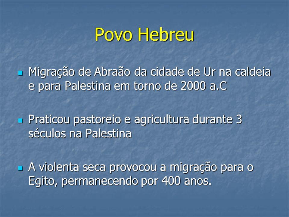 Povo Hebreu Migração de Abraão da cidade de Ur na caldeia e para Palestina em torno de 2000 a.C Migração de Abraão da cidade de Ur na caldeia e para P